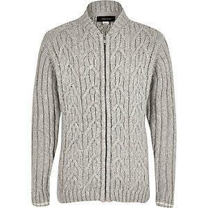 Boys grey cable knit bomber cardigan