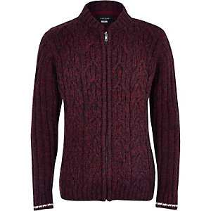 Boys burgundy cable knit bomber cardigan