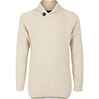 Boys cream knit shawl collar sweater