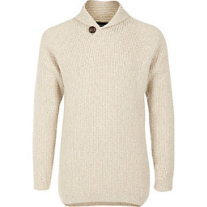 Boys cream knit shawl collar sweater