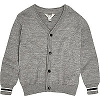 Mini boys grey knit oversized cardigan