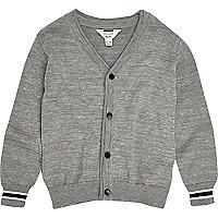 Mini boys grey knit oversized cardigan