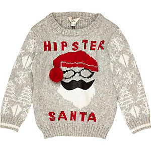 Mini boys grey Santa Christmas jumper