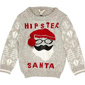 Pull de Noël gris motif Père Noël mini garçon