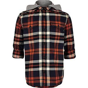 Boys navy check hooded flannel shirt