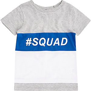 Mini boys grey block 'squad' T-shirt