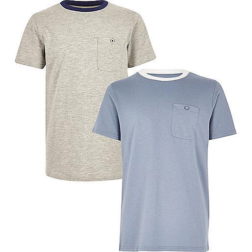Lot de t-shirts bleu et gris pour garçon