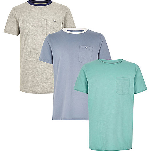 Boys grey and blue T-shirt multipack