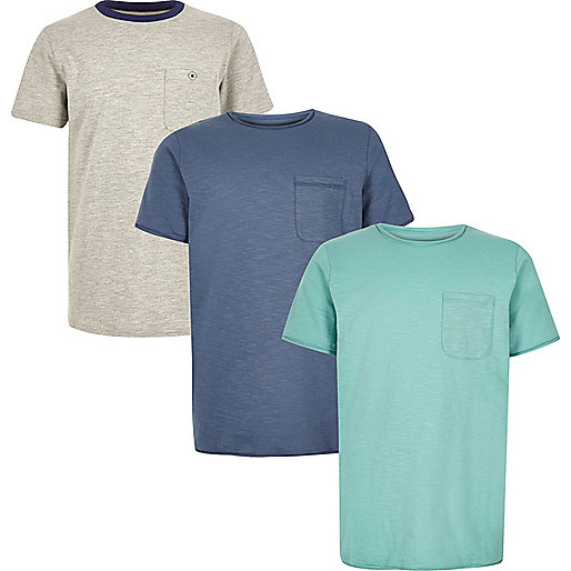 T-Shirt in Türkis, Multipack