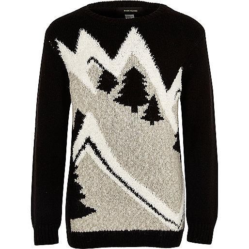 Boys black novelty ski slope Christmas jumper