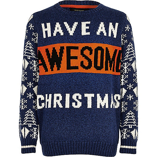 Boys blue 'Awesome' Christmas sweater