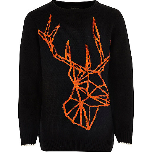 Boys black geo reindeer Christmas Jumper