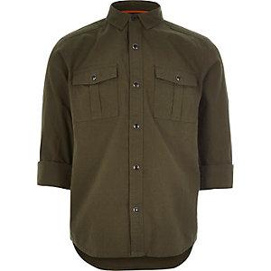 Boys khaki green military Oxford shirt