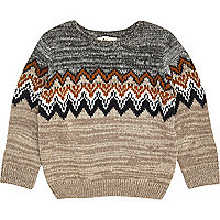 Mini boys grey zig zag crew neck jumper