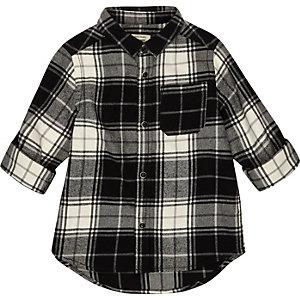 Mini boys black check shirt