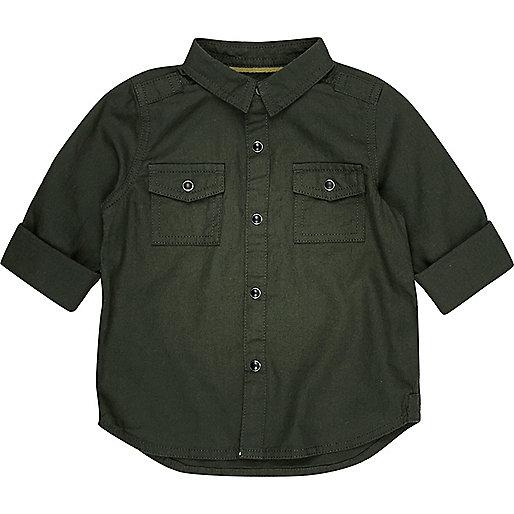 Mini boys khaki military Oxford shirt