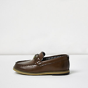 Mini boys brown snaffle loafers