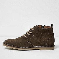 Boys khaki suede desert boots