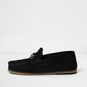Chaussures bateau en daim noir avec mors pour garçon