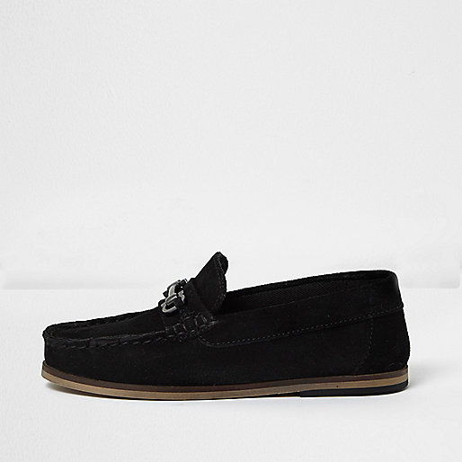 Boys black suede snaffle loafers