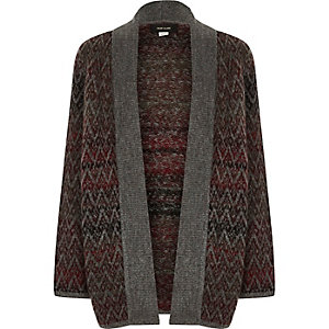 Boys brown ombré knit open cardigan