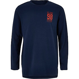 Boys navy print long sleeve T-shirt