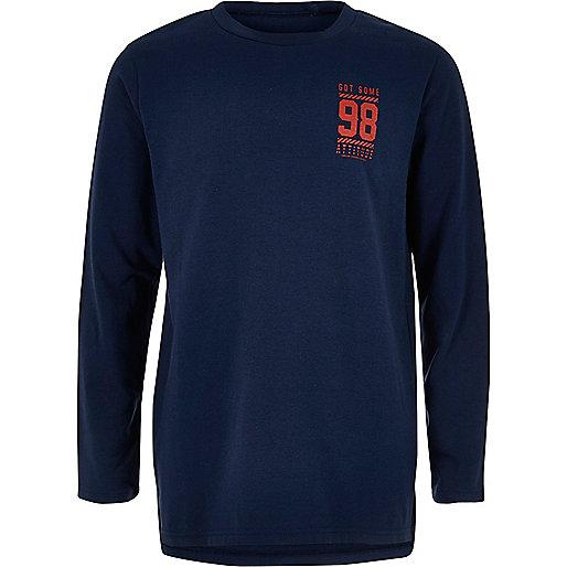 Boys navy print long sleeve T-shirt