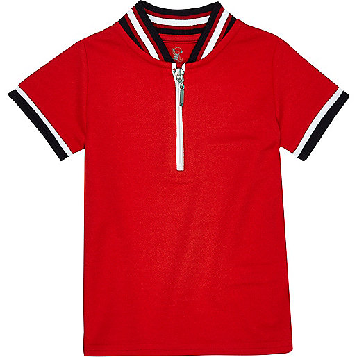 Mini boys red tipped zip polo shirt