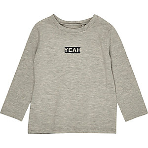 Mini boys grey 'Yeah' long sleeve T-shirt