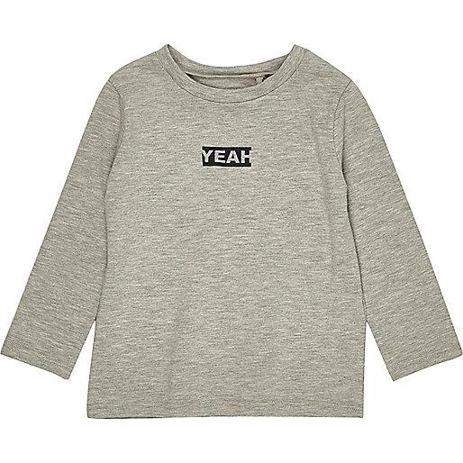 T-shirt gris à manches longues imprimé Yeah mini garçon