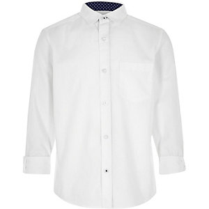 Boys white long sleeve Oxford shirt