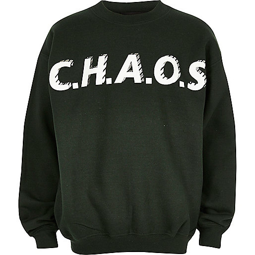 Boys green print sweatshirt