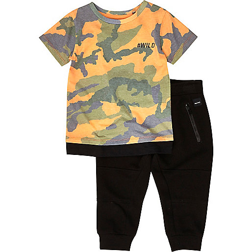 Mini boys orange camo T-shirt joggers set