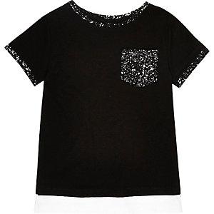 Mini boys black paint splatter print T-shirt