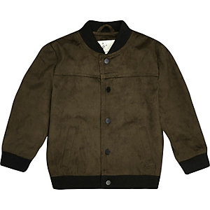 Mini boys khaki faux suede bomber jacket