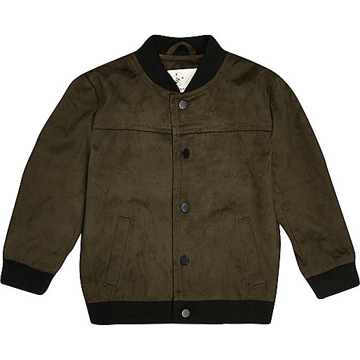 Mini boys khaki faux suede bomber jacket
