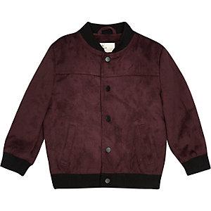 Mini boys burgundy faux suede bomber jacket