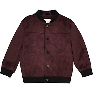 Mini boys burgundy faux suede bomber jacket