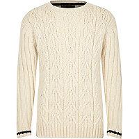 Boys ecru cable knit stripe cuff jumper