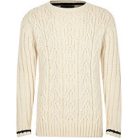 Boys ecru cable knit stripe cuff sweater