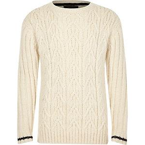 Boys ecru cable knit stripe cuff sweater
