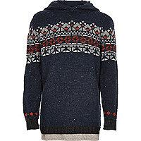 Sweat à capuche en tricot jacquard bleu marine pour garçon