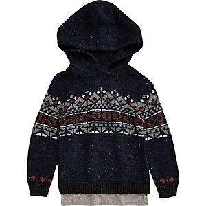Sweat à capuche en tricot jacquard bleu marine mini garçon