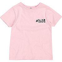 Mini boys pink '#Dude' print T-shirt