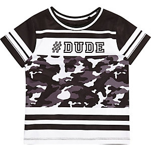 Mini boys black '#dude' print mesh T-shirt