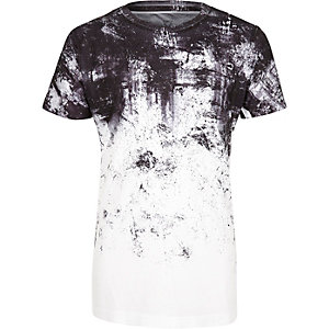 Boys white faded print t-shirt