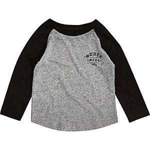 Mini boys grey raglan print T-shirt