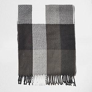 Écharpe à gros carreaux écossais grise pour garçon