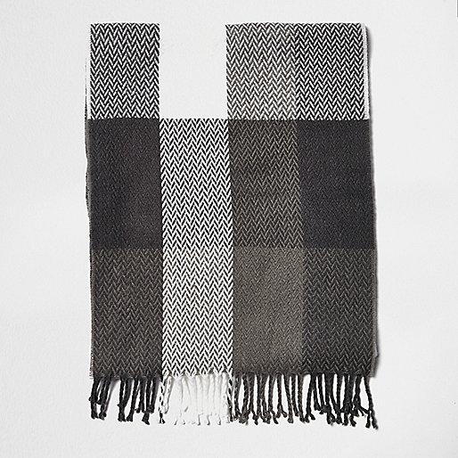Boys grey buffalo tartan scarf