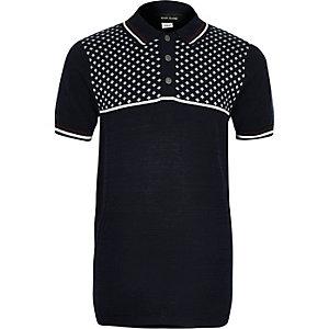 Polo colour block bleu marine à imprimé géométrique pour garçon